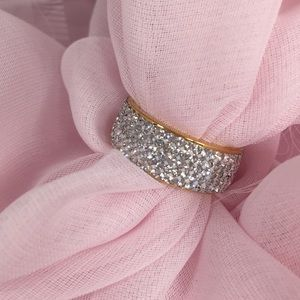 STAINLESS STEEL CRYSTAL BAND RING